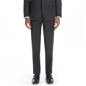 CANALI Wool Flat Front Black Suit Trousers